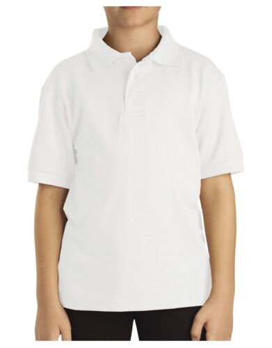 DICKIES BOYS POLO COLLAR COLLARED SHIRT SCHOOL UNIFORM WHITE SZ S-XL 8-20