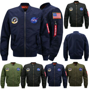 Men-039-s-Thick-Jacket-US-NASA-Warm-Winter-MA1-Flight-Bomber-Coat-Baseball-Outwear