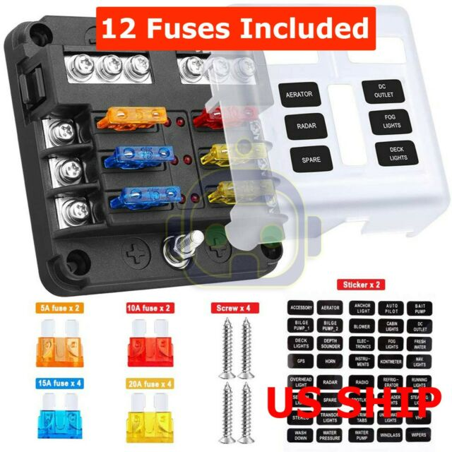 12V 4 Way Car Auto Truck Boat Automotive Blade Fuse Holder Box Circuit ATO ATC