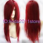 New Long Dark RED Cosplay Straight women's hair full Wig/Wigs