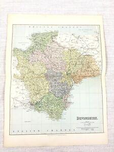 1889 Mappa Antica Di Devon Tiverton Ashburton Honiton Tavistock 19th Secolo