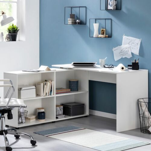 Finebuy Eckschreibtisch Regal Schreibtisch Computertisch Bürotisch PC Büro Weiß