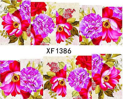 Full Wrap Flowers Tartan Water Transfer Decal UV Acrylic Polish Tips Design