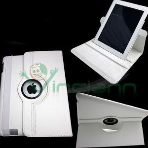 Custodia-Rotante-360-Slim-Stand-per-iPad-2-pelle-sottile-lettura-scrittur-BIANCA