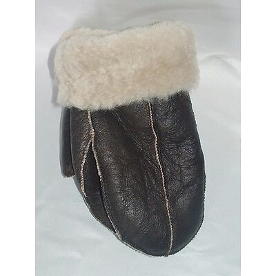 *BLACK FRIDAY* 2 REAL SHEEPSKIN SHEARLING LEATHER FUR THICK MITTENS MITTS GLOVES