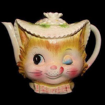 RARE Vintage Enesco Lefton Winking KITTY CAT TEAPOT Coffee Pitcher
