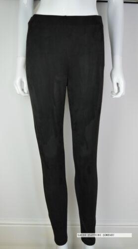 M/&s Noir Taille Haute Leggings Jegging Faux Daim Suédine Front À Enfiler Taille 8-20