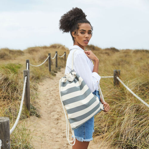 Gym Sack Bag Beach Holiday Gymsac Nautical Stripes Cotton Summer Sun Stripey Bag