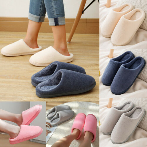Women Men Winter Home Slip On Slippers Ladies Indoor Casual Snow Sliders Shoes