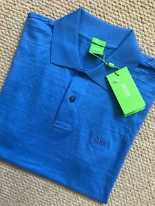 HUGO BOSS T Shirt Polo Blue New Mens Cotton Green Label Top Casual Details