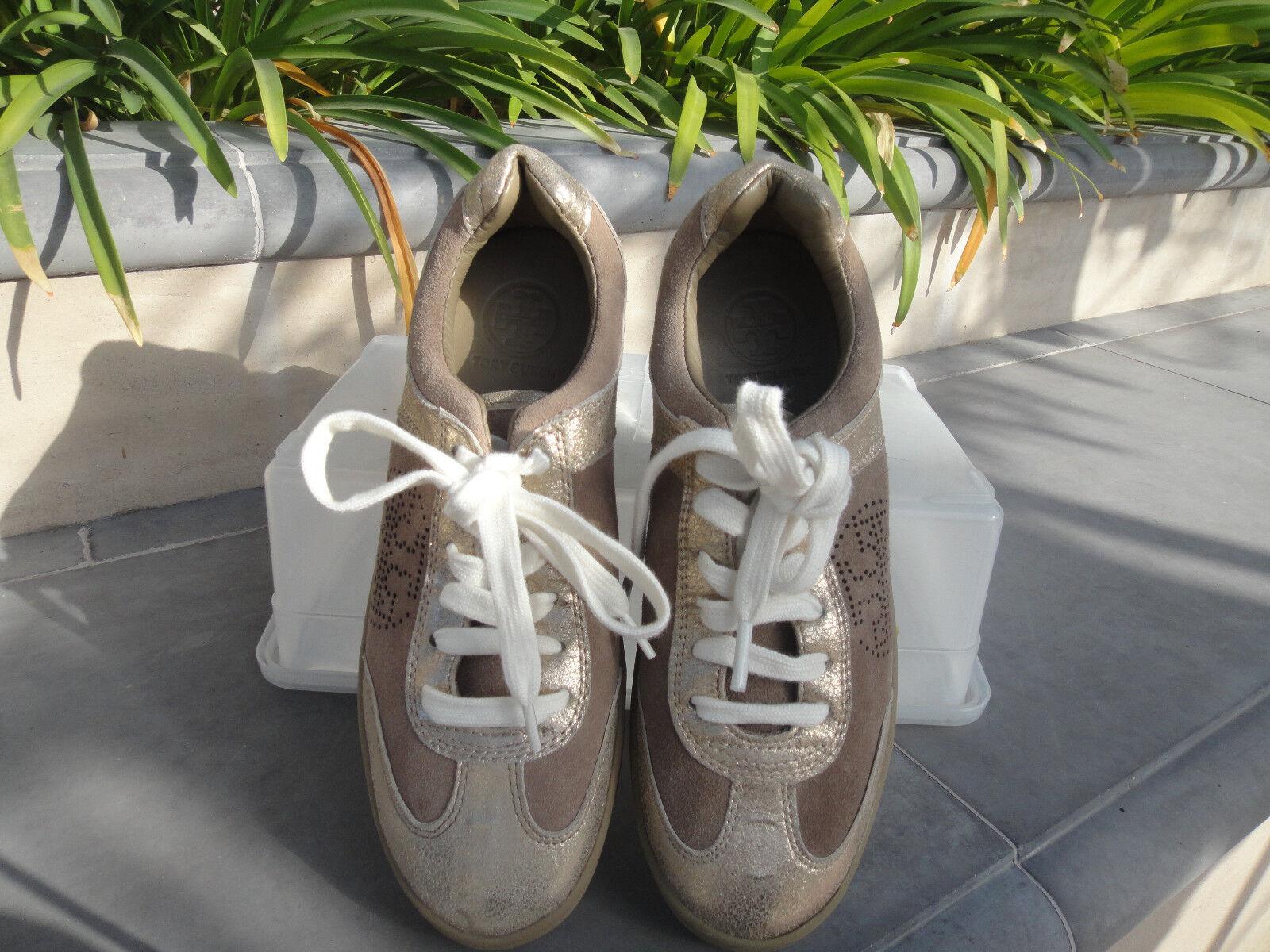 Tory Burch Zapatos Tenis Metálico oro Mitch Cuero Beige Bronceado, WMNS TALLA US7M