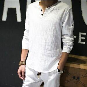a16b5944d4783a Mens V-Neck Linen Casual T Shirts Comfort Spring Loose Long Sleeve ...