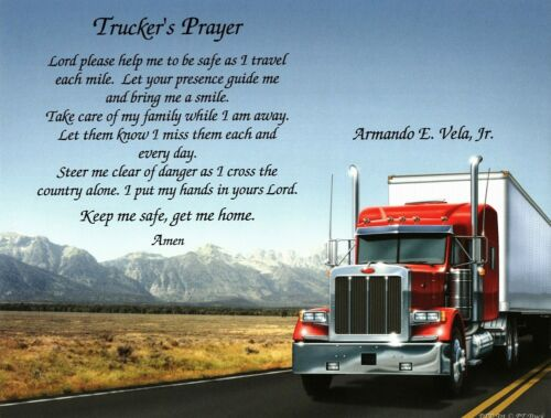 """Truck Driver Personalized Gift /""""TRUCKER/'S PRAYER/"""" for Dad Father/'s Day ***L@@K"""