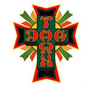 DOGTOWN-034-Cross-Logo-034-Skateboard-Sticker-11cm-Medium-Old-Skool-RASTA-1970s-1980s