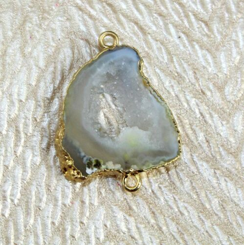 Natural Geode Druzy Gold Electroplated Double Bails Connector Gemstone Jewelry