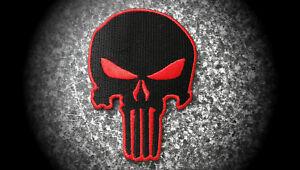 Skull-The-Punisher-Patch-Aufnaeher-Aufbuegler-Badge-Iron-On-Badge-Rot