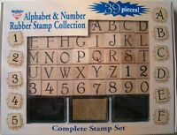 Alphabet Cursive Rubber Stamps Set Of 36 Letters Numbers 3 Ink Pad Scrap Booking