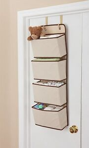 Hanging-Closet-Organizer-4-Pockets-Wall-Mount-Over-Door-Storage-Toys-Keys-Kids
