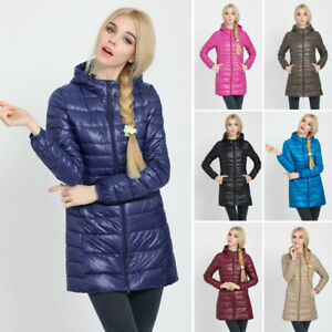 Womens-Warm-Coat-Hooded-Long-Down-Jacket-Winter-Quilted-Pad-Lightweight-Outwear
