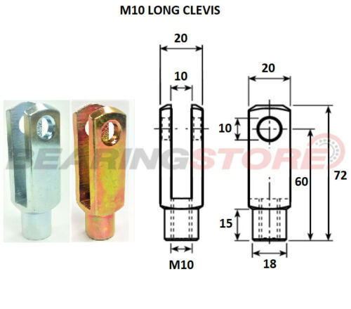 CLIP PIN CLEVIS FORK M10X1.50 RIGHT HAND THREAD LONG SERIES STEEL