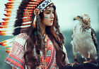 American Indian & Eagle * LARGE A3 SIZE QUALITY CANVAS ART PRINT