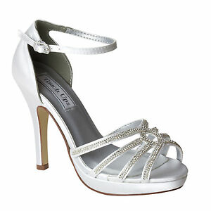 3a42d902766 Image is loading Dyeable-White-Satin-Rhinestone-Vaille-High-Heel-Womans-