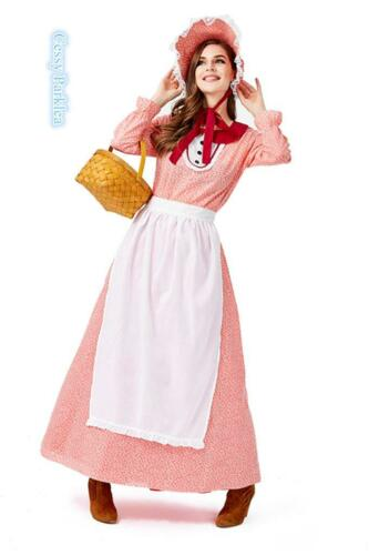 E3 Pioneer Woman Prairie Pilgrim Olden Day Colonial Victorian Red Floral Costume