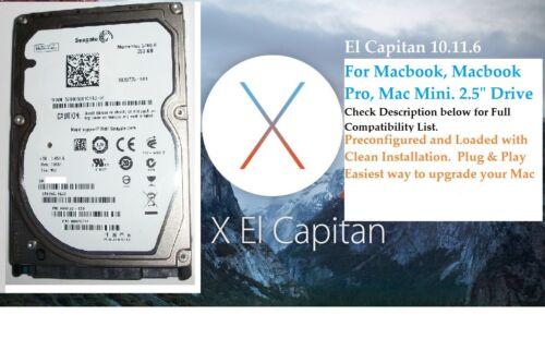 "OS X El Capitan Mac Mini.Plug /& Play 2.5/"" Hard Drive 250GB.Macbook Pro,Macbook"