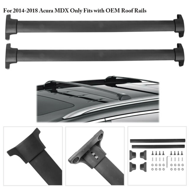 Roof Rack Rail Top Cross Bar Cargo Luggage Carrier Set For