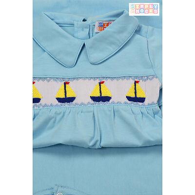 Baby Boy's Hand Smocked 3 Piece Gift Set Boat Bib Blanket & Babygrow New Shower