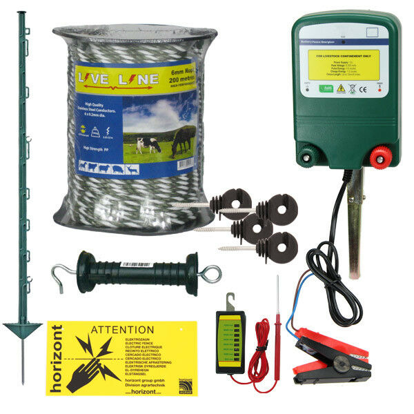12v Electric Fence Kit - Green 3 FT Posts & 6mm Rope - STRONG 0.6J   1.6J Fencer