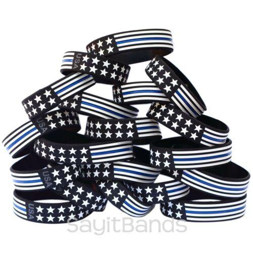 Titre en gras Bracelets Large Drapeau Mince Ligne Bleue Bracelet USA Design Bracelet Lot