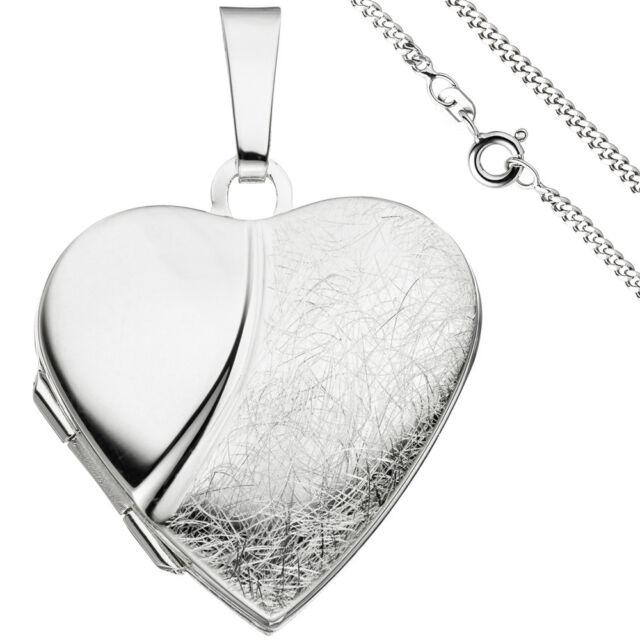 Medaillon Herz Anhänger zum Öffnen für 2 Fotos 925 Silber mit Kette 60 cm 6605b45739