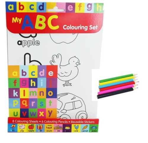 6 pencils Learn the ABC Colouring Set Stickers 8 printed couring sheets