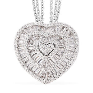 "White Cubic Zirconia CZ Triple Strand Valentine Heart Chain Pendant Necklace 20"""