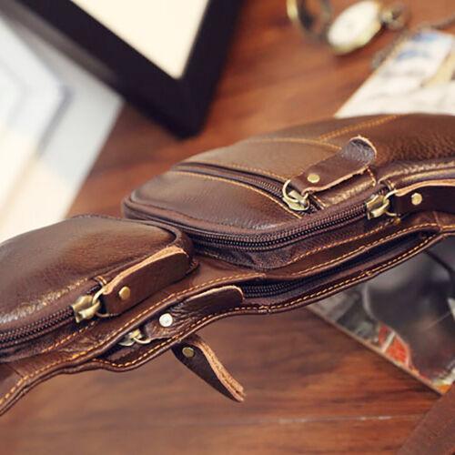 Genuine Leather Cross Body Chest Pack Travel Messenger Men Single Shoulder Bag