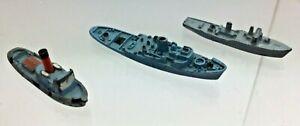x3  Vintage Tri-ang Minic Waterline Ships  - M731 Tug M810 Turmoil M805 Winston