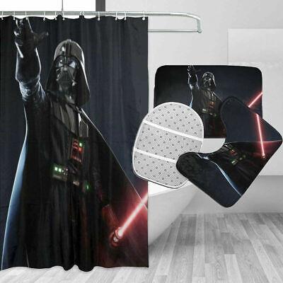 Star Wars Baby Yoda 4PCS Bathroom Rugs Shower Curtain Bath Mat Toilet Lid Cover