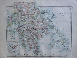1900 VICTORIAN MAP GREECE LARISSA ACARNANIA MOREA LACONIA MESSENIA
