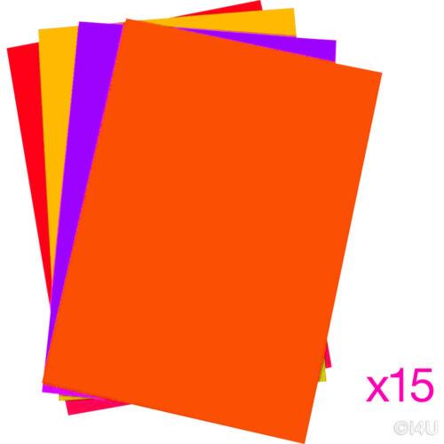 15 x tarjetas A4 hojas de color vívida Escuela de Arte elaboración de Tarjetas artesanal Impresora