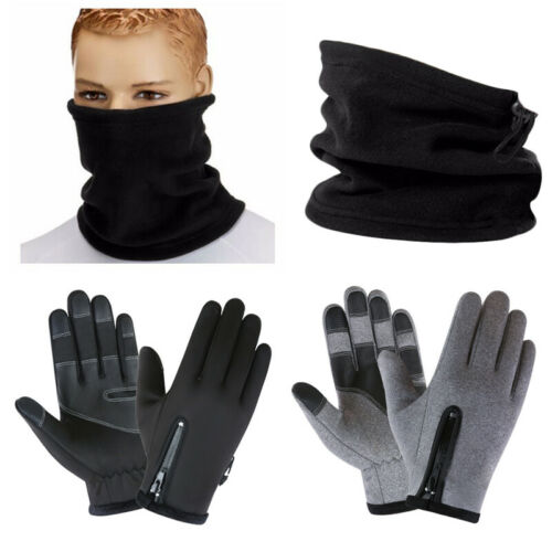 Mens Warm Thermal Neck Warmer Snood Winter Scarf Tube Driving Anti-slip Gloves