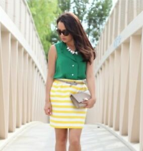fe6a4d25cc Kate Spade Yellow & White striped Skirt Size 10 skirt the rules | eBay