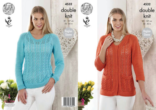 King Cole Womens Double Knitting Pattern Lace Sweater /& Cardigan Giza DK 4532
