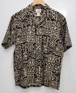 Ho-Aloha-Hawaiian-Camp-Shirt-Men-039-s-Size-Medium-Cotton-Short-Sleeve-Black-Beige