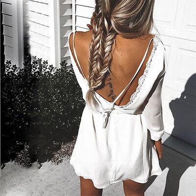 Boho Sexy Women Long Sleeve Party Evening Cocktail Summer Beach Short Mini Dress