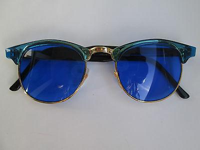 1 Retro Sonnenbrille im 60er Stil blau 50er 60 er Brille Hippie Goa Party 50s