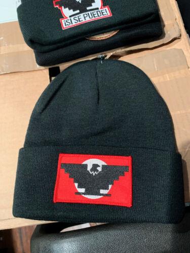 CHICANO HUELGA BIRD FLAG BLACK BEANIE HAT