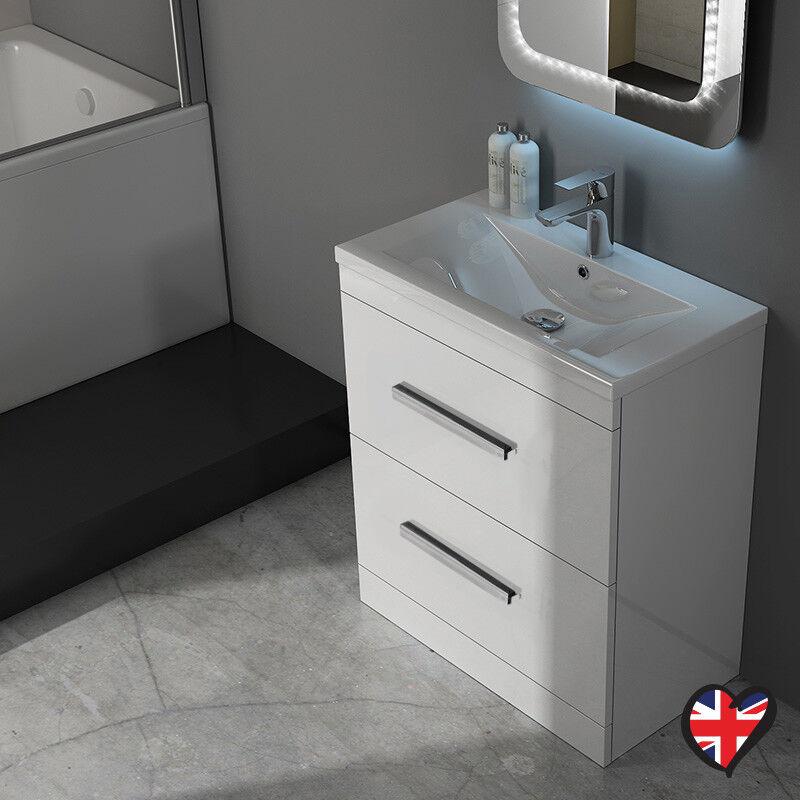 Salle de Bain Vestiaire 610 mm patello Vanity Sink Twin Tiroir Unité Blanc avec rangement