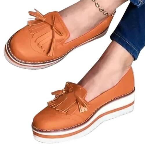 Women Round Toe Fringe Single Slip On Flats Loafer Boat Summer Casual Shoes Size