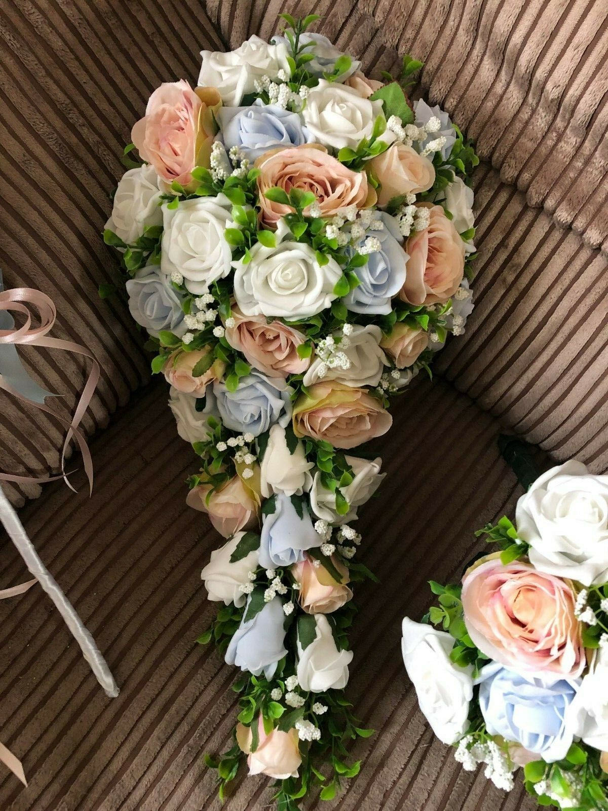 Mariage Fleurs XL Bridal Shower Bouquet Rose bleush Bleu & Blanc
